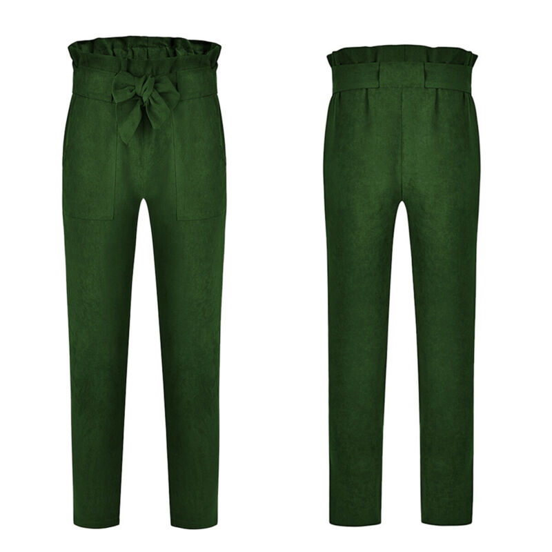 US-Women-039-s-Casual-Loose-High-Waist-Long-Pencil-Pants-with-Bow-Tie-Belt-Trousers thumbnail 32