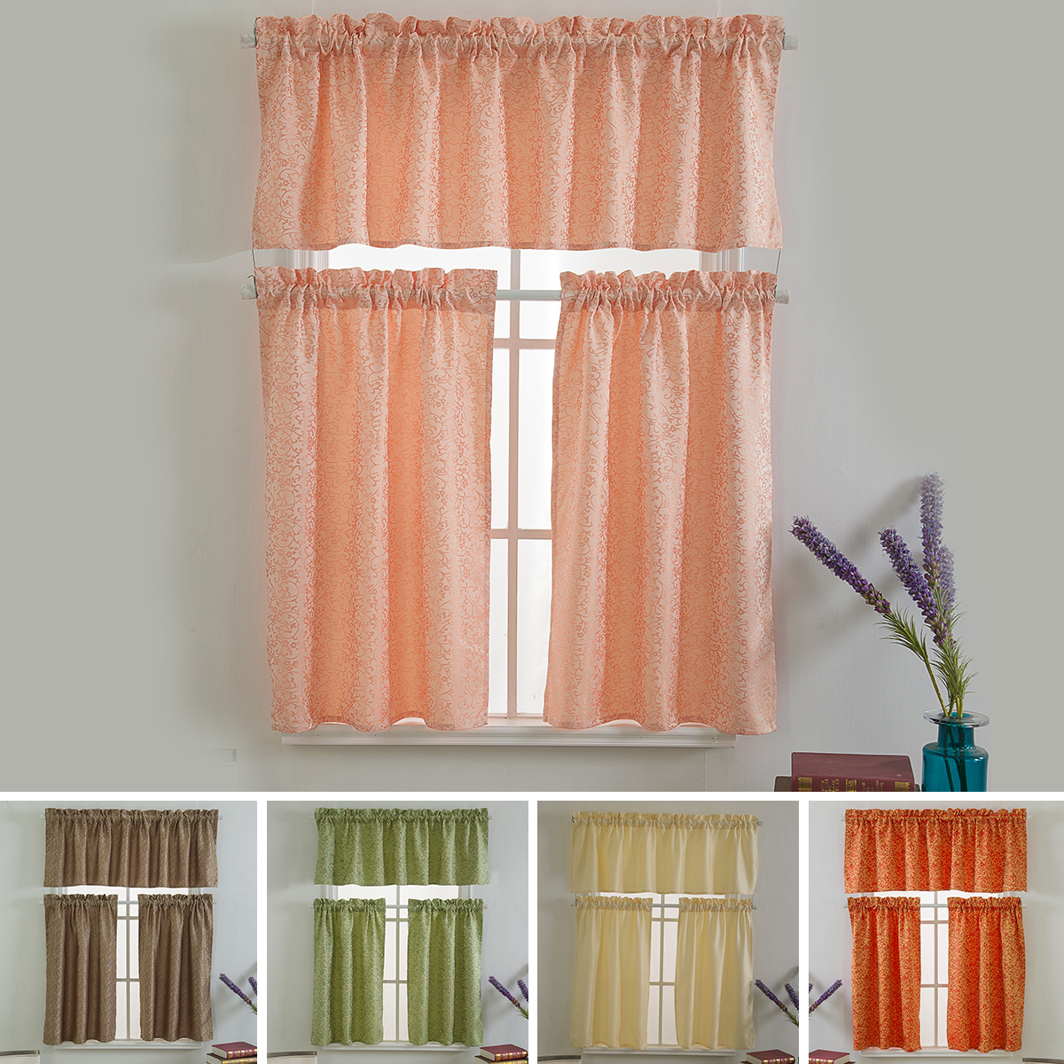 Details about New Ready Made Kitchen Window Voile Cafe Net Short Curtains  Panel Valance Decor
