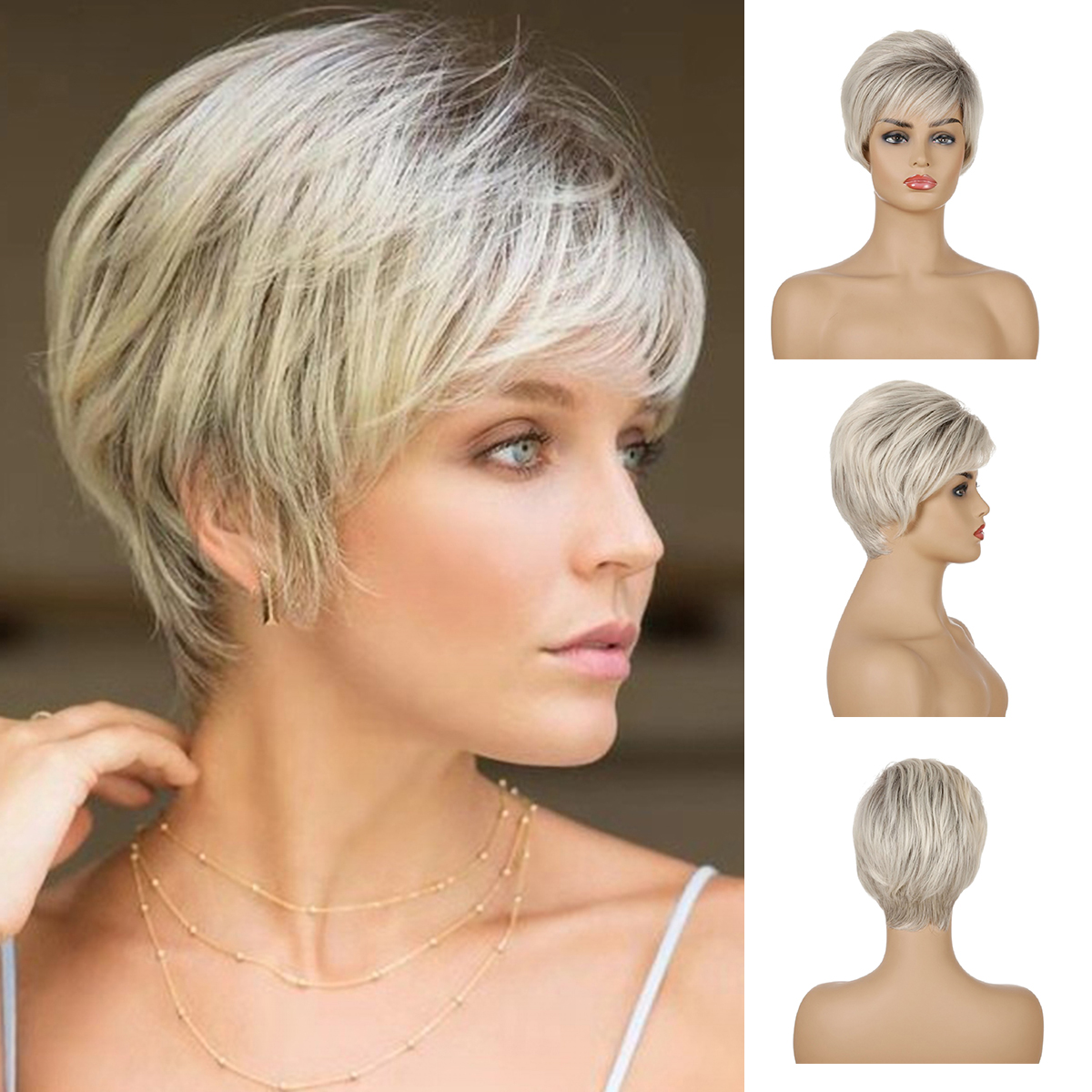 Details about Short Straight Cropped Wig