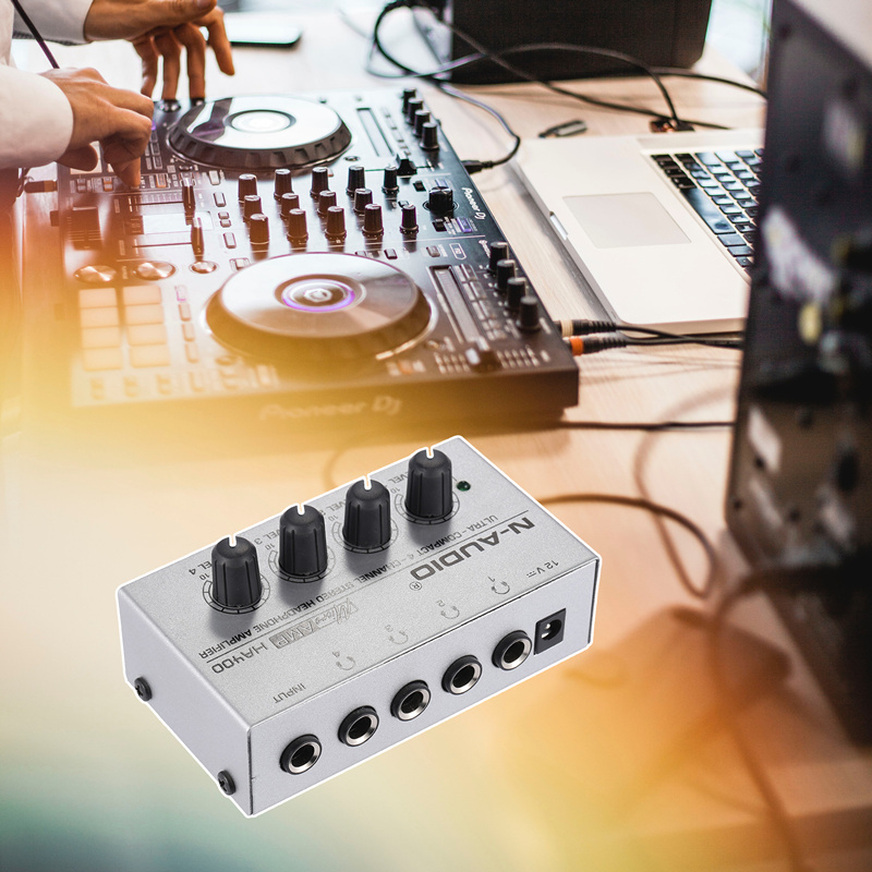 Mini Audio Stereo Headphone Amplifier Mixer Ultra Compact With 4 Channels