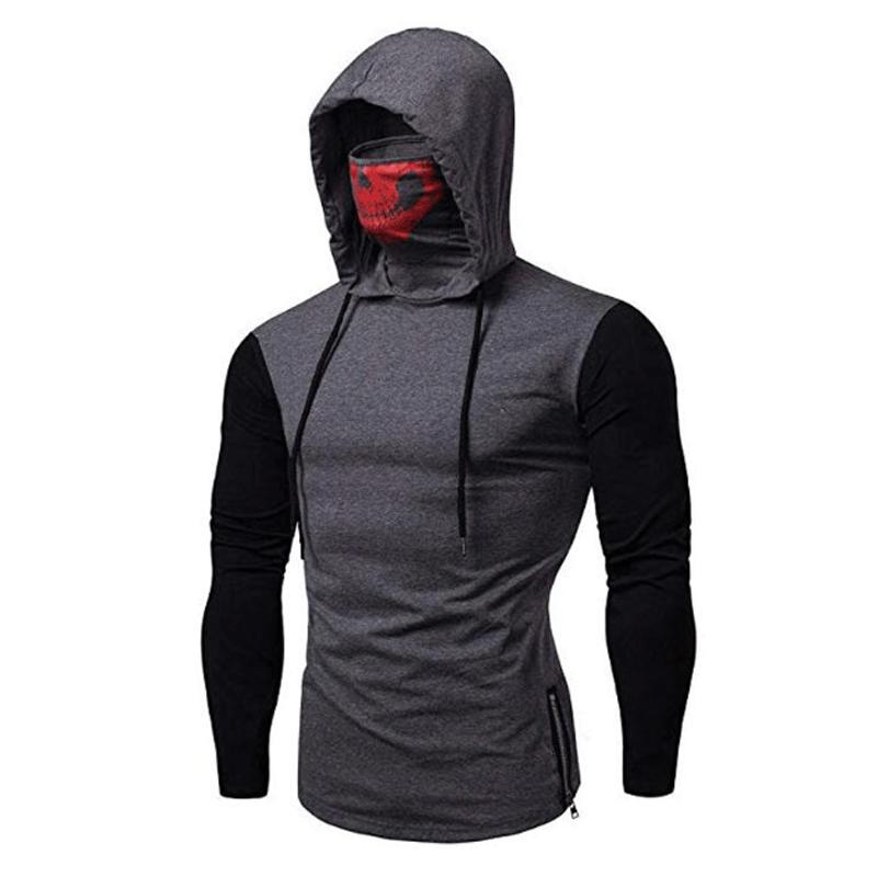 Mens Long Sleeve T Shirt Hoodies Slim Fit Muscle Gym Hooded Pullover Tops Tee US
