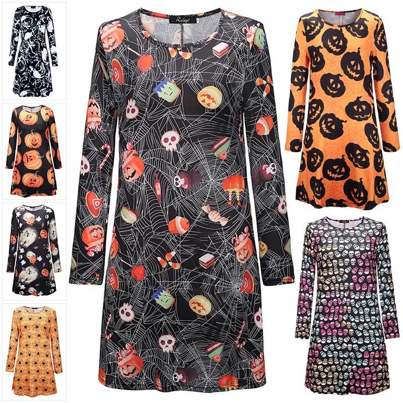 Womens Ladies Halloween Fancy Pumpkin Round Neck Long Sleeve Swing Mini Dress