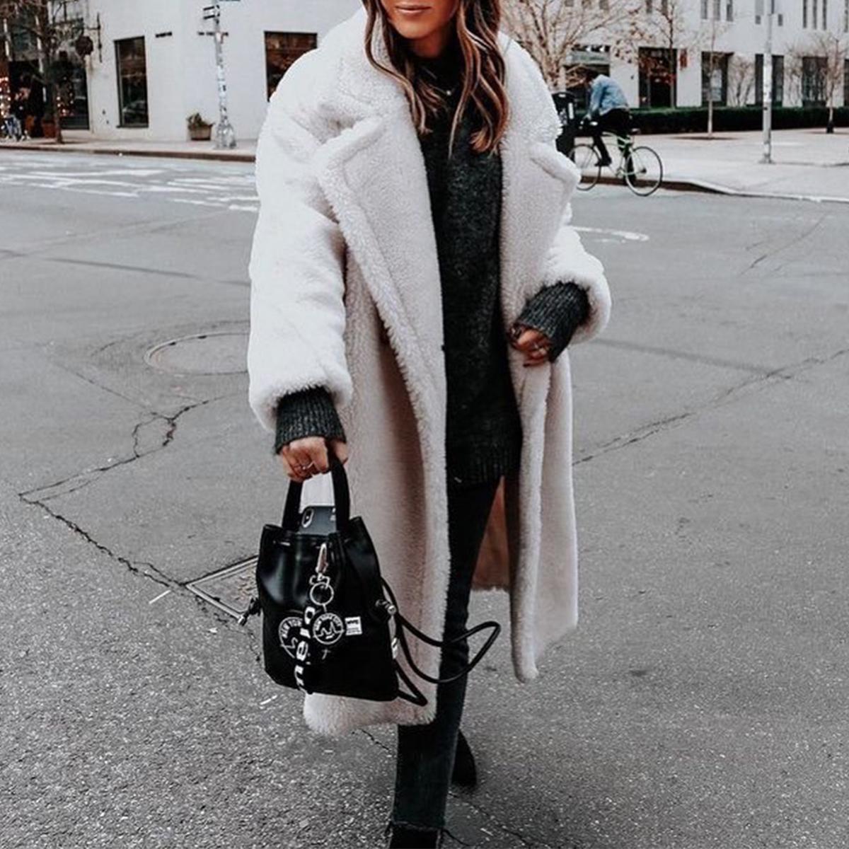Women-Winter-Warm-Teddy-Bear-Fleece-Coat-Fluffy-Jacket-Cardigan-Overcoat-Outwear miniatura 14