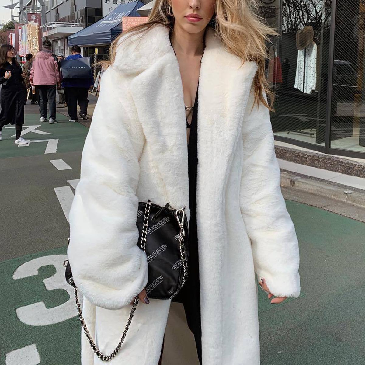 Women-Winter-Warm-Teddy-Bear-Fleece-Coat-Fluffy-Jacket-Cardigan-Overcoat-Outwear miniatura 15