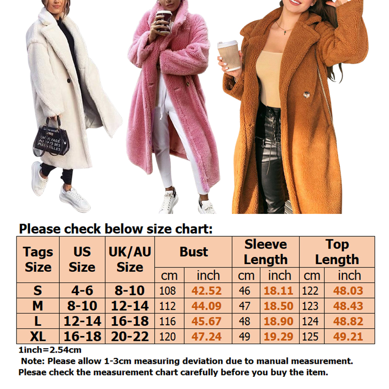 Women-Winter-Warm-Teddy-Bear-Fleece-Coat-Fluffy-Jacket-Cardigan-Overcoat-Outwear miniatura 17