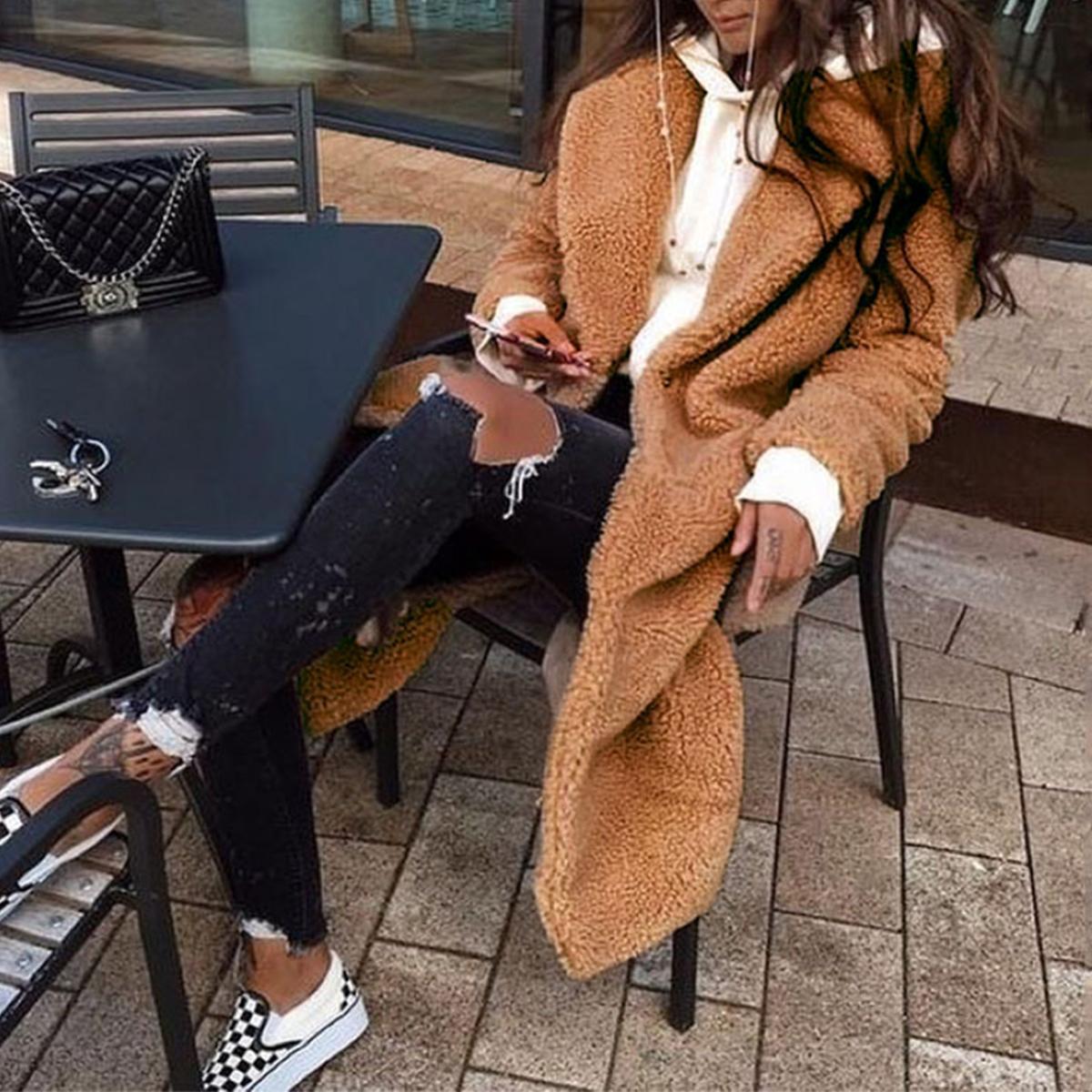 Women-Winter-Warm-Teddy-Bear-Fleece-Coat-Fluffy-Jacket-Cardigan-Overcoat-Outwear miniatura 20