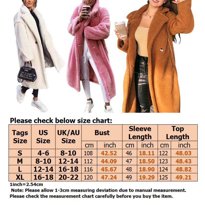 Women-Winter-Warm-Teddy-Bear-Fleece-Coat-Fluffy-Jacket-Cardigan-Overcoat-Outwear miniatura 22