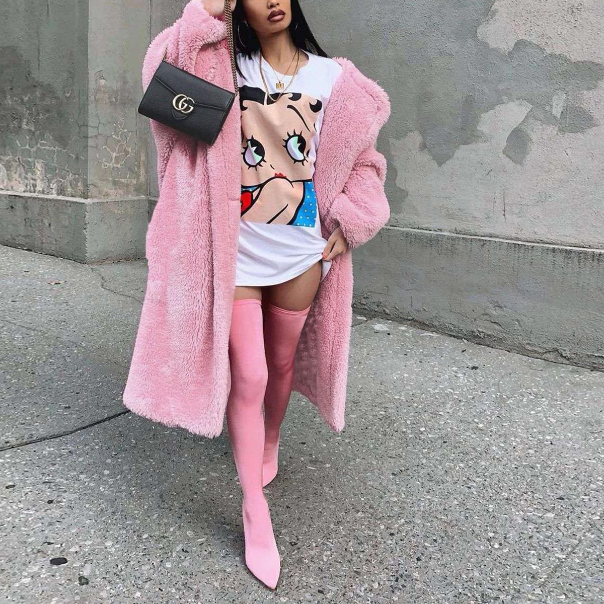 Women-Winter-Warm-Teddy-Bear-Fleece-Coat-Fluffy-Jacket-Cardigan-Overcoat-Outwear miniatura 23