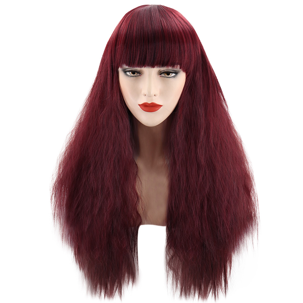 Long Wavy Curly Full Wig Bangs Cosplay Party Black Wigs ...