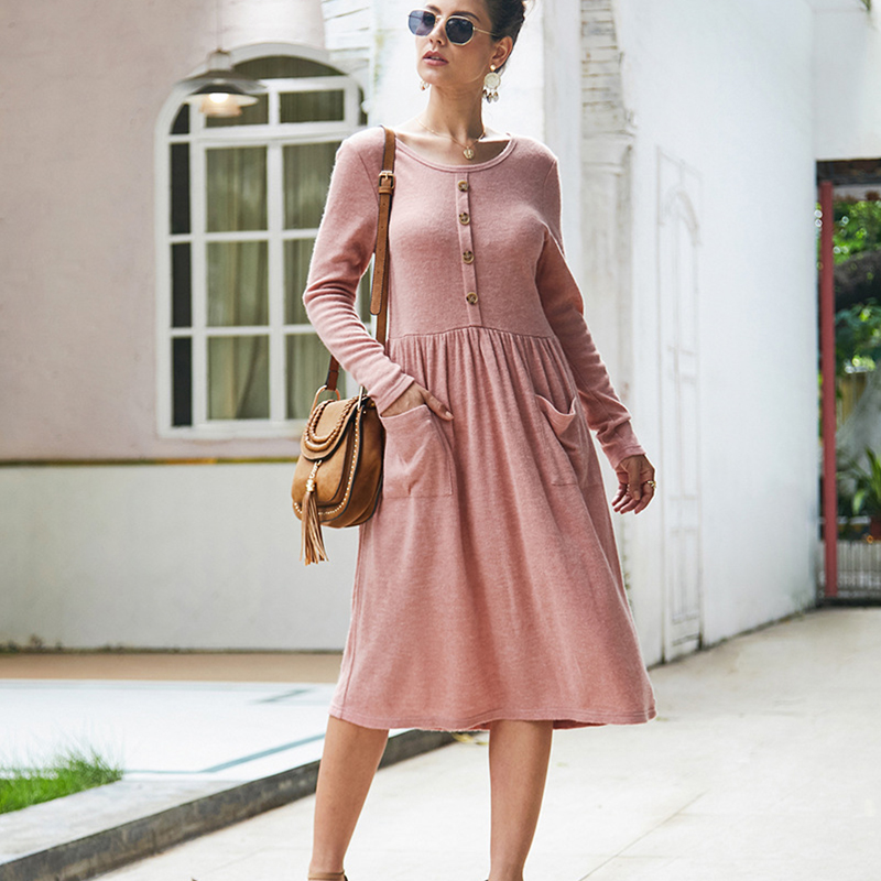 Women-039-s-Vintage-Button-Down-Pockets-Puffy-Swing-Long-Sleeve-Casual-Party-Dress thumbnail 15