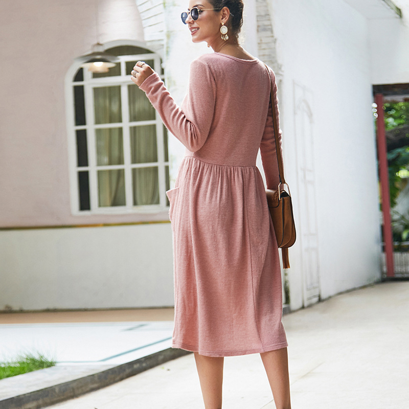 Women-039-s-Vintage-Button-Down-Pockets-Puffy-Swing-Long-Sleeve-Casual-Party-Dress thumbnail 16