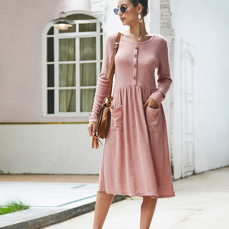 Women-039-s-Vintage-Button-Down-Pockets-Puffy-Swing-Long-Sleeve-Casual-Party-Dress thumbnail 17