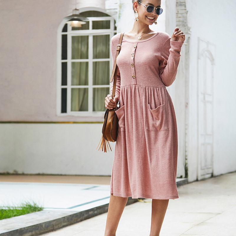 Women-039-s-Vintage-Button-Down-Pockets-Puffy-Swing-Long-Sleeve-Casual-Party-Dress thumbnail 18