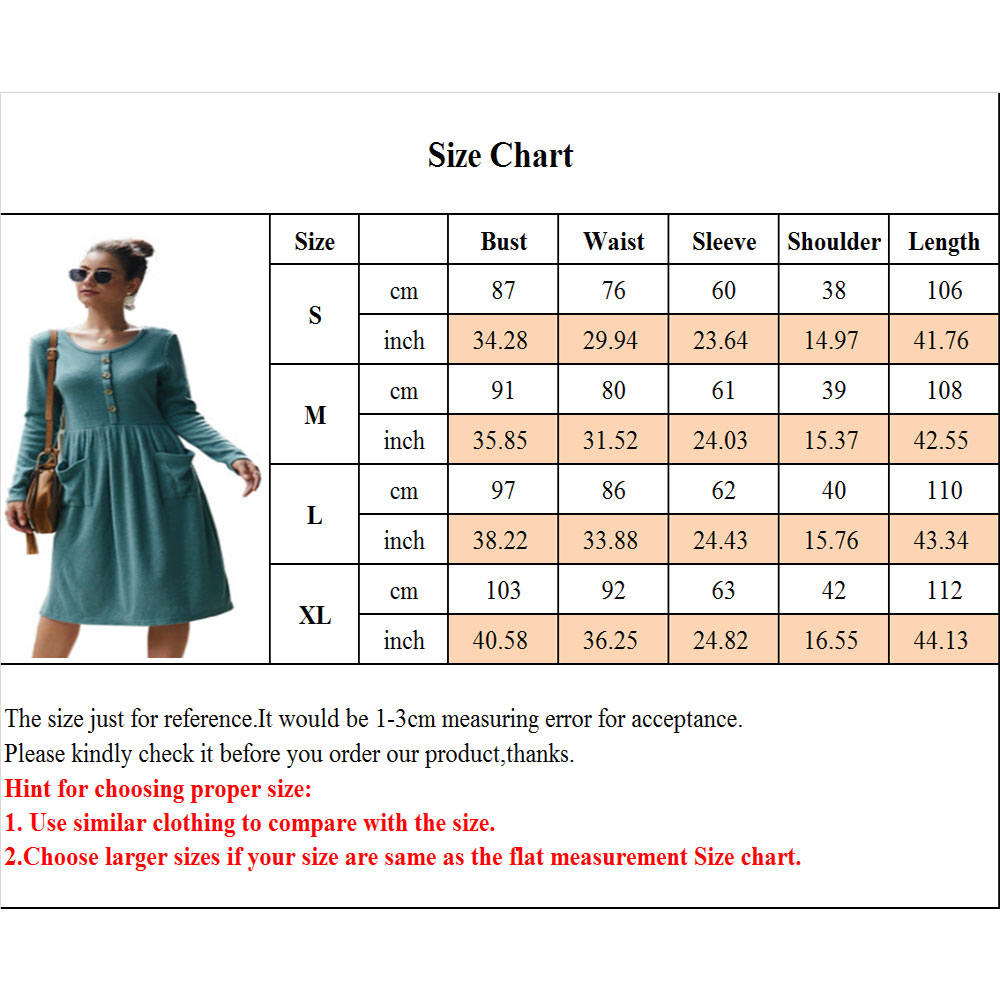 Women-039-s-Vintage-Button-Down-Pockets-Puffy-Swing-Long-Sleeve-Casual-Party-Dress thumbnail 24