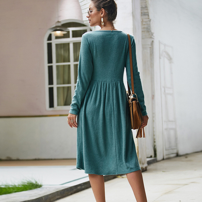 Women-039-s-Vintage-Button-Down-Pockets-Puffy-Swing-Long-Sleeve-Casual-Party-Dress thumbnail 25