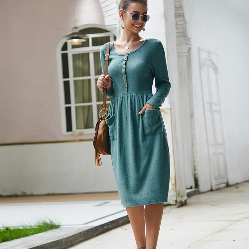 Women-039-s-Vintage-Button-Down-Pockets-Puffy-Swing-Long-Sleeve-Casual-Party-Dress thumbnail 26