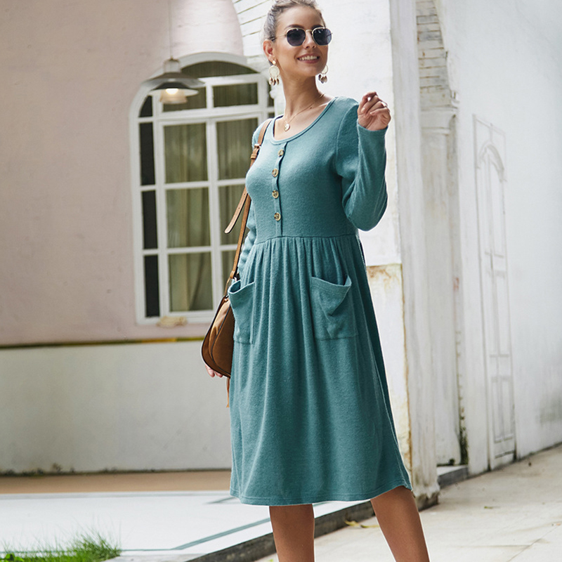 Women-039-s-Vintage-Button-Down-Pockets-Puffy-Swing-Long-Sleeve-Casual-Party-Dress thumbnail 27