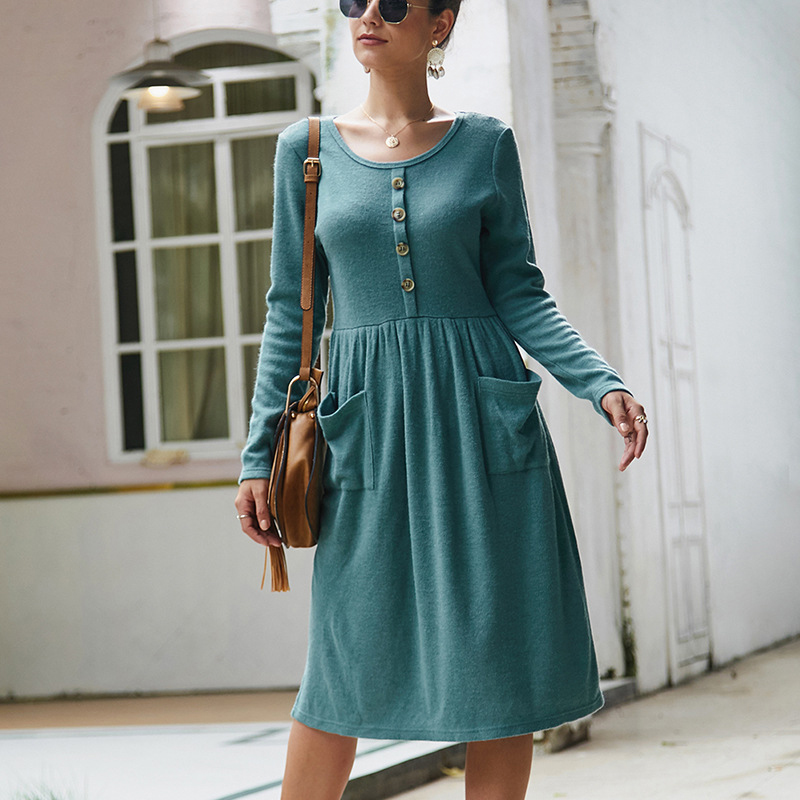 Women-039-s-Vintage-Button-Down-Pockets-Puffy-Swing-Long-Sleeve-Casual-Party-Dress thumbnail 28