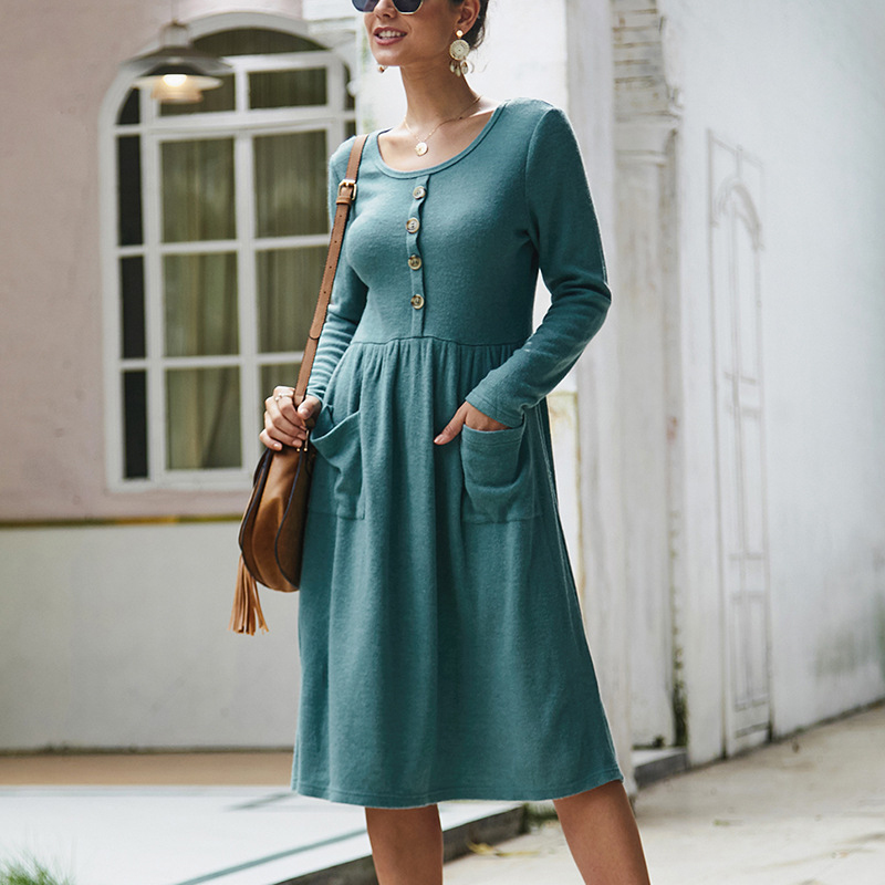 Women-039-s-Vintage-Button-Down-Pockets-Puffy-Swing-Long-Sleeve-Casual-Party-Dress thumbnail 29