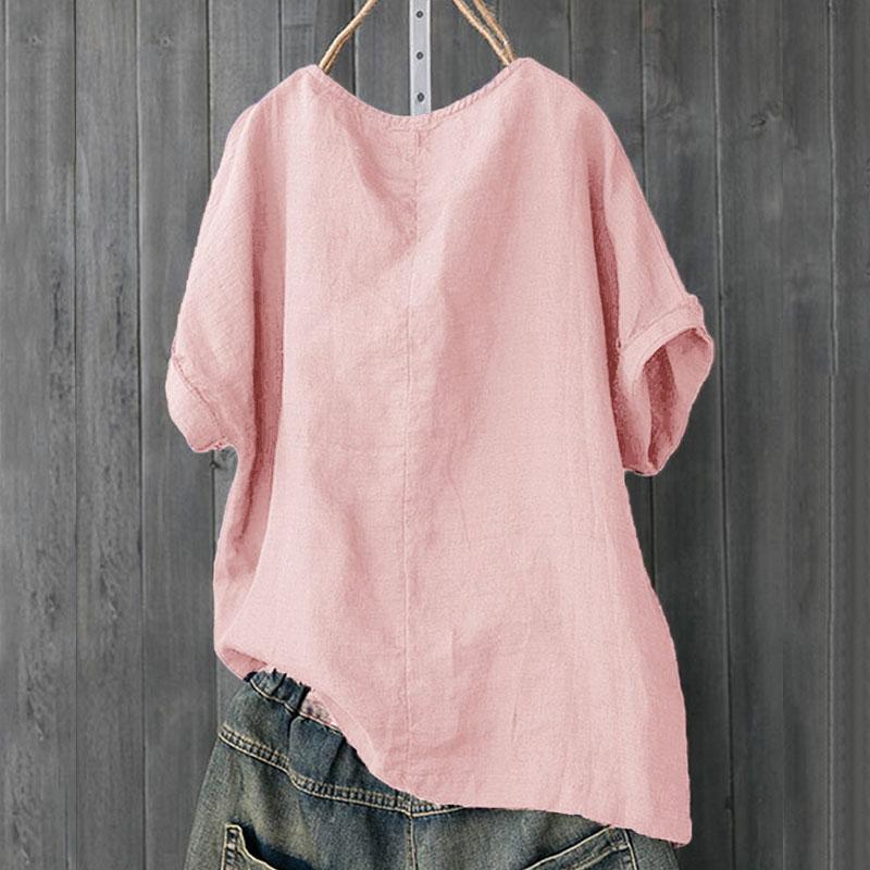 Womens-Cotton-Linen-Baggy-Tops-Summer-Loose-Short-Sleeve-Casual-T-Shirts-Blouse thumbnail 13