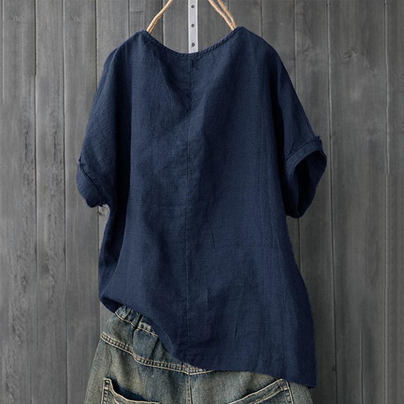 Womens-Cotton-Linen-Baggy-Tops-Summer-Loose-Short-Sleeve-Casual-T-Shirts-Blouse thumbnail 16
