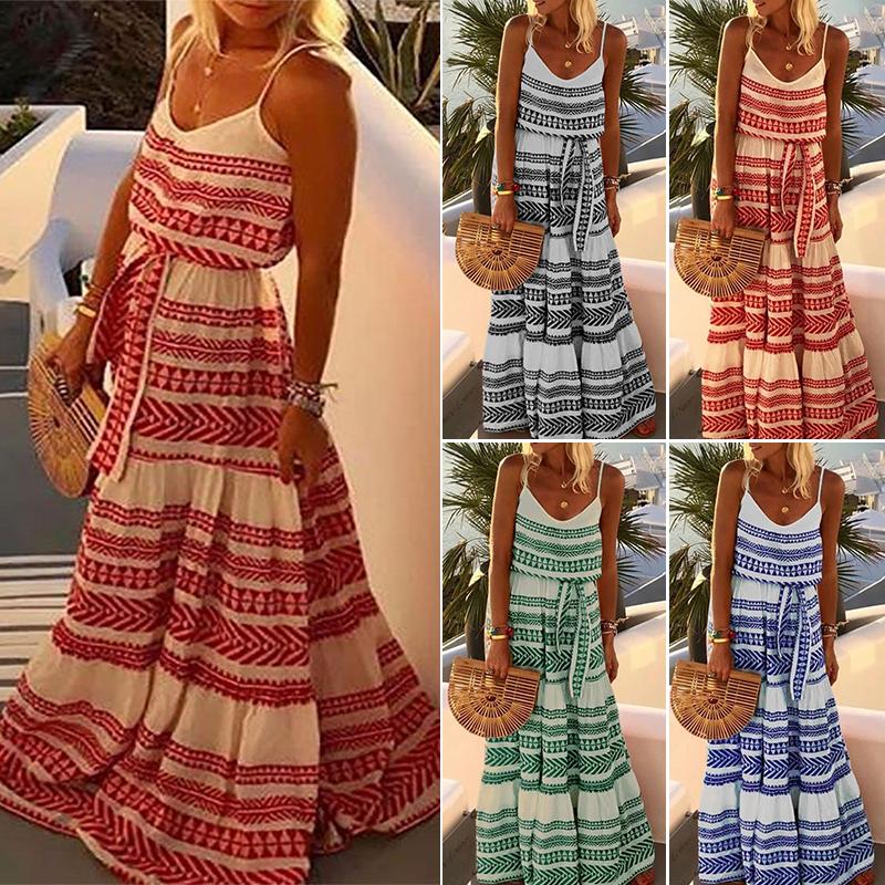 Plus size Lady Beach Sleeveless Holiday Casual Boho Beach Midi Sundress S-5XL
