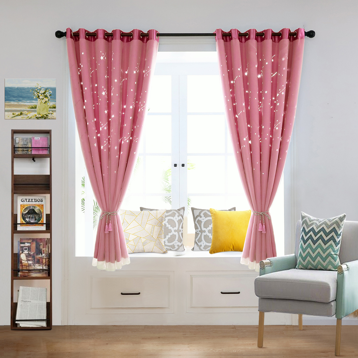 ring top curtain  mesh thermal blockout curtain for kids