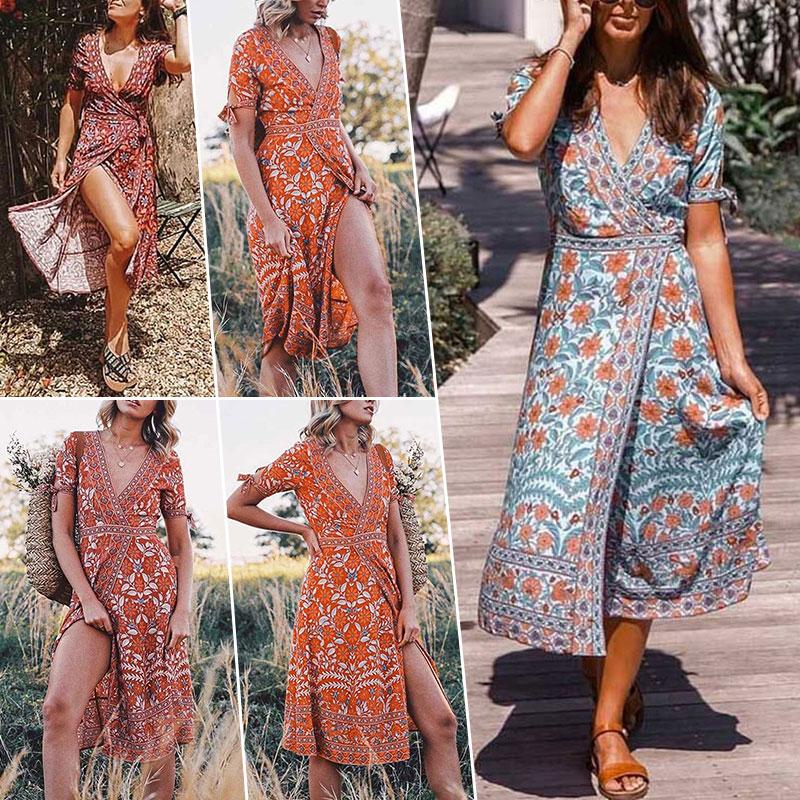 Women/'s Summer Tunic V Neck Short Sleeve Boho Floral Midi Chiffon Dress Holiday
