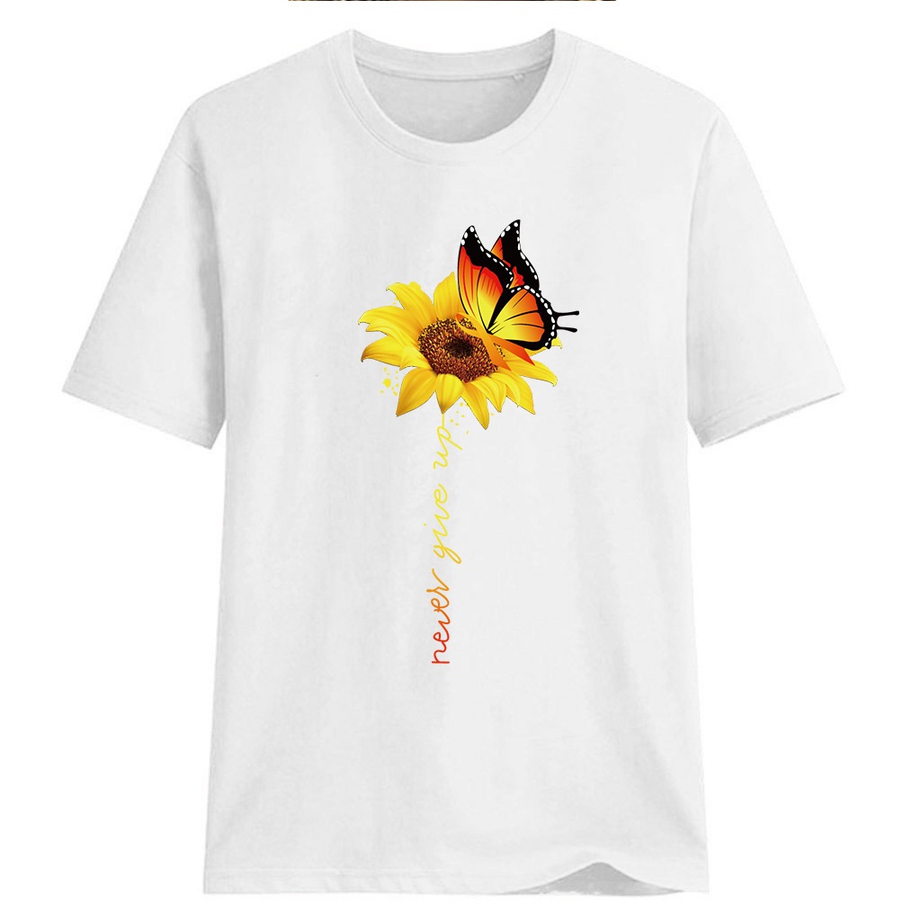 Women-Sunflower-Tops-Ladies-Short-Sleeve-Crew-Neck-Casual-Blouse-Shirt-Plus-Size thumbnail 11
