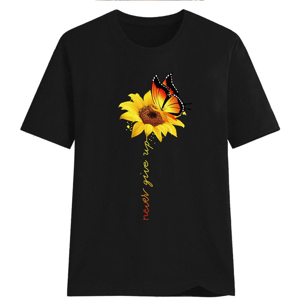 Women-Sunflower-Tops-Ladies-Short-Sleeve-Crew-Neck-Casual-Blouse-Shirt-Plus-Size thumbnail 13