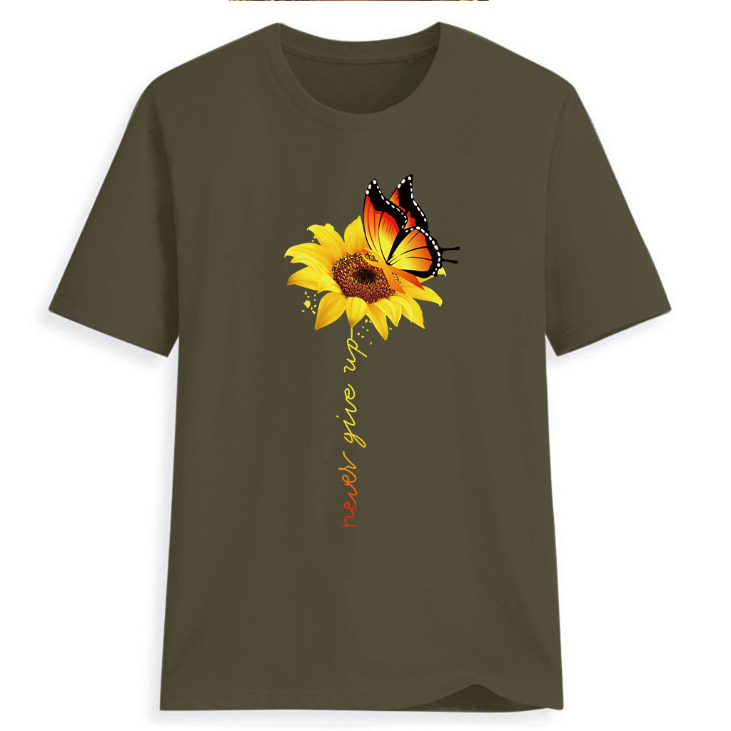 Women-Sunflower-Tops-Ladies-Short-Sleeve-Crew-Neck-Casual-Blouse-Shirt-Plus-Size thumbnail 19