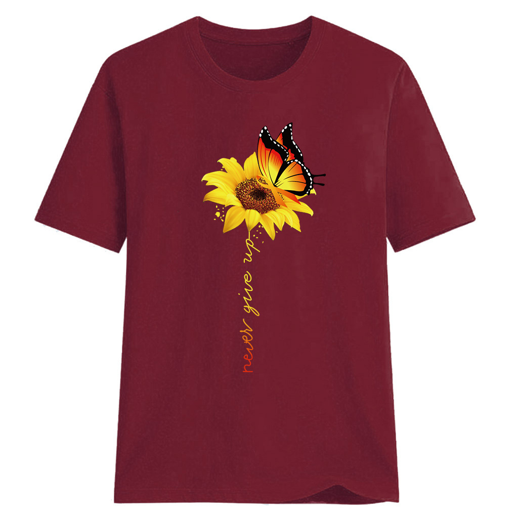 Women-Sunflower-Tops-Ladies-Short-Sleeve-Crew-Neck-Casual-Blouse-Shirt-Plus-Size thumbnail 24