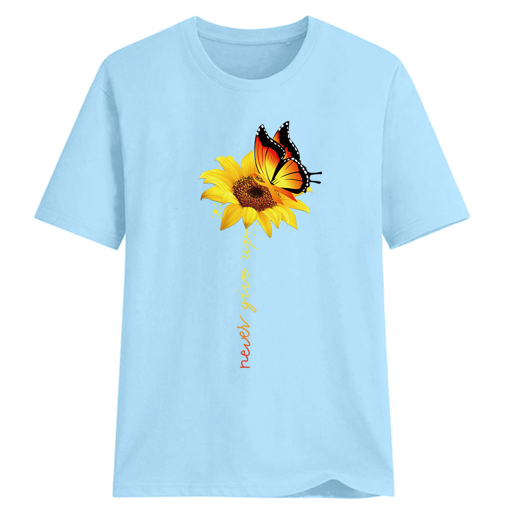 Women-Sunflower-Tops-Ladies-Short-Sleeve-Crew-Neck-Casual-Blouse-Shirt-Plus-Size thumbnail 22