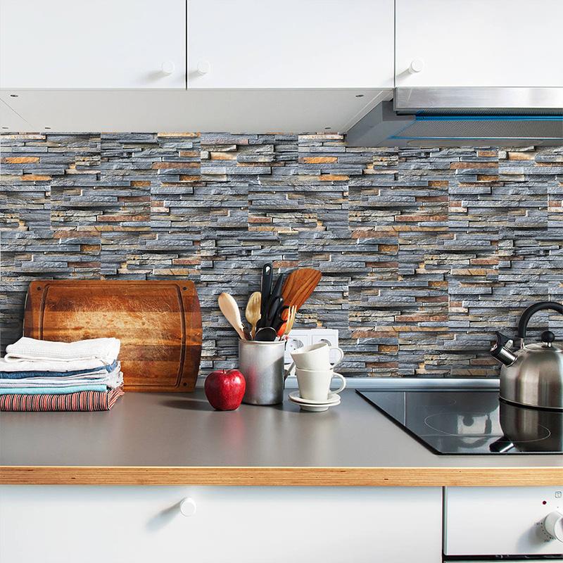 9pcs 3D Self Adhesive Mosaic Tile Sticker Kitchen Bathroom Wall Stickers Decor
