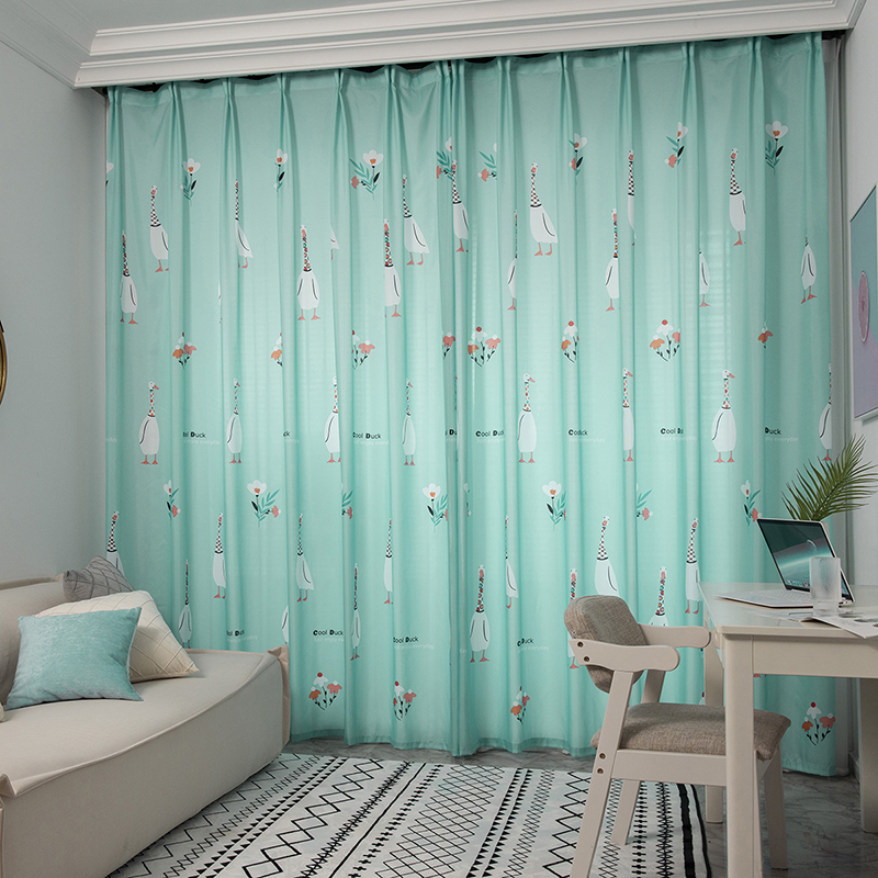 Thermal Semi Blackout Curtain Eyelet Ready Made Curtain for Kids Boys Girls Room