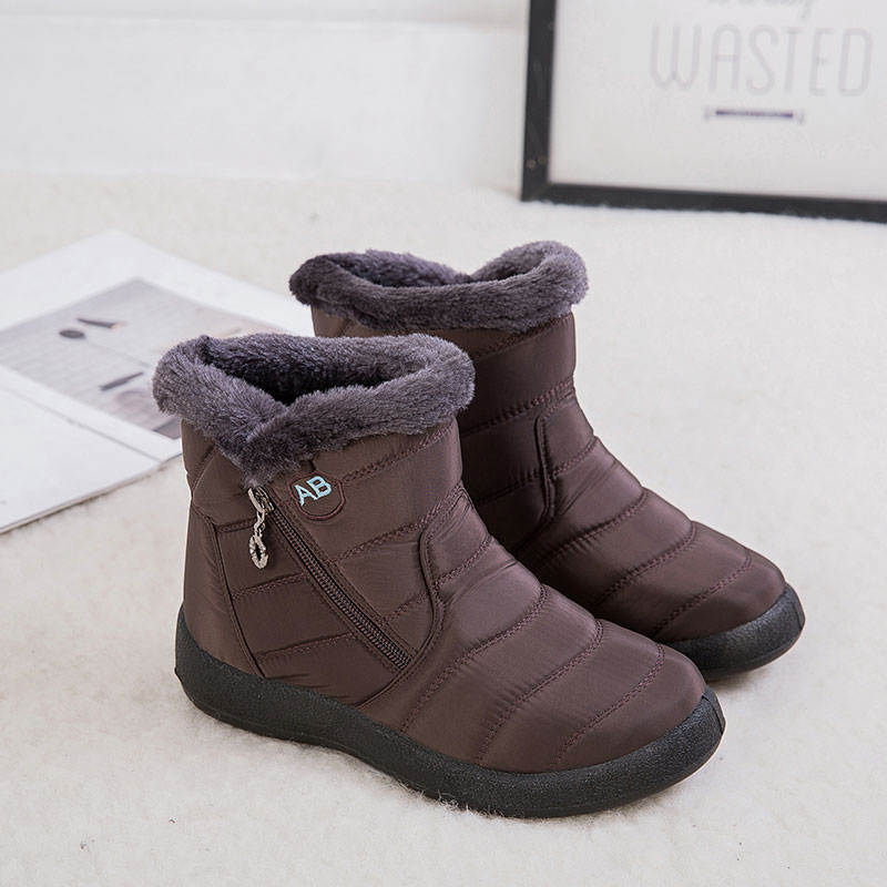 Womens Fur Lined Snow Waterproof Ankle Boots Ladies Winter Warm Flat Shoes