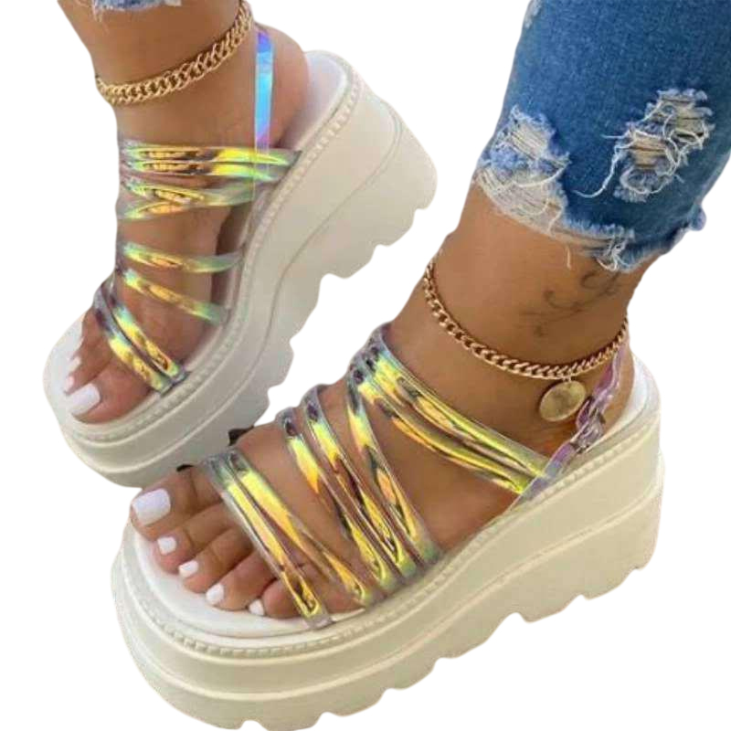 thumbnail 10 - Womens Chunky Platforms Sandals Strappy Mules Fashion Holiday Shoes Summer New