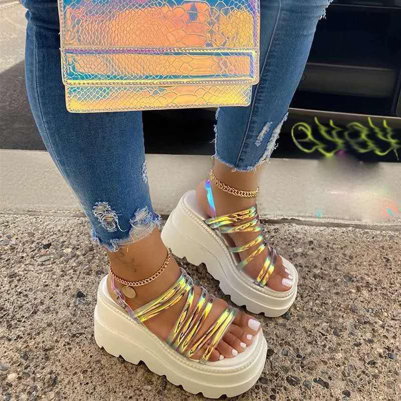thumbnail 11 - Womens Chunky Platforms Sandals Strappy Mules Fashion Holiday Shoes Summer New