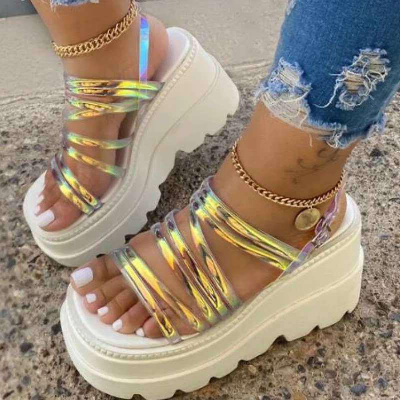 thumbnail 12 - Womens Chunky Platforms Sandals Strappy Mules Fashion Holiday Shoes Summer New