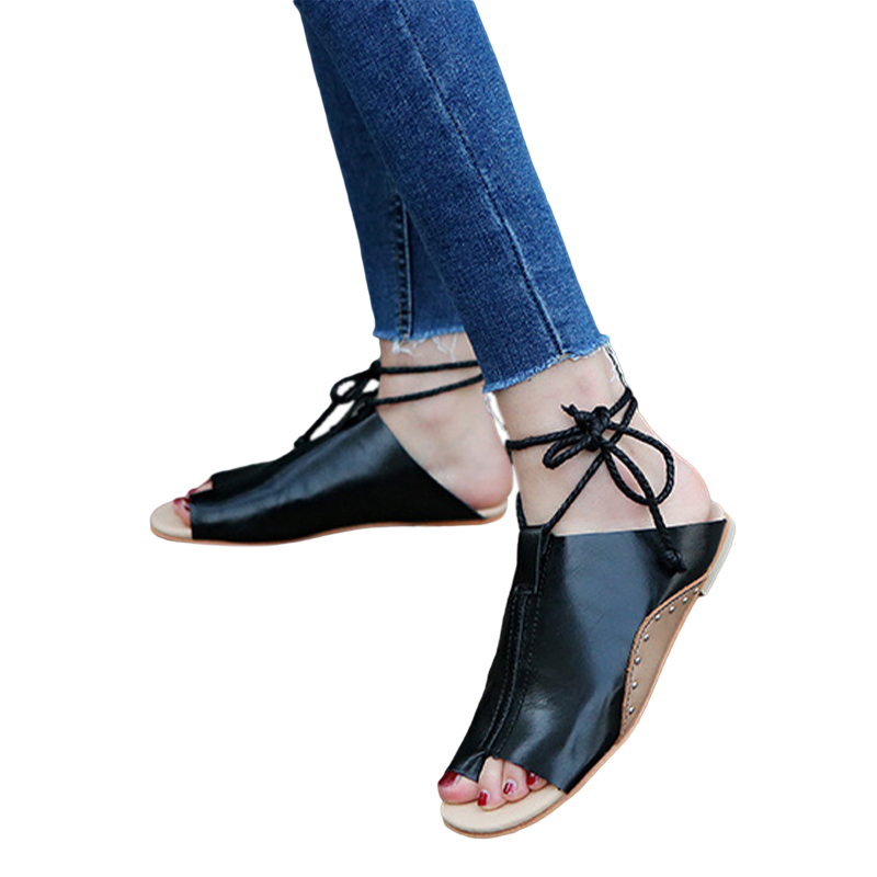 thumbnail 13 - Women's Fashion Flat Sandals Open Toe Buckle Slippers Shoes Beach Lace Up Summer