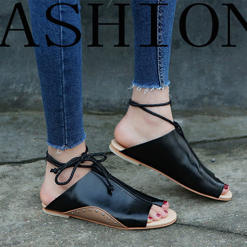 thumbnail 14 - Women's Fashion Flat Sandals Open Toe Buckle Slippers Shoes Beach Lace Up Summer