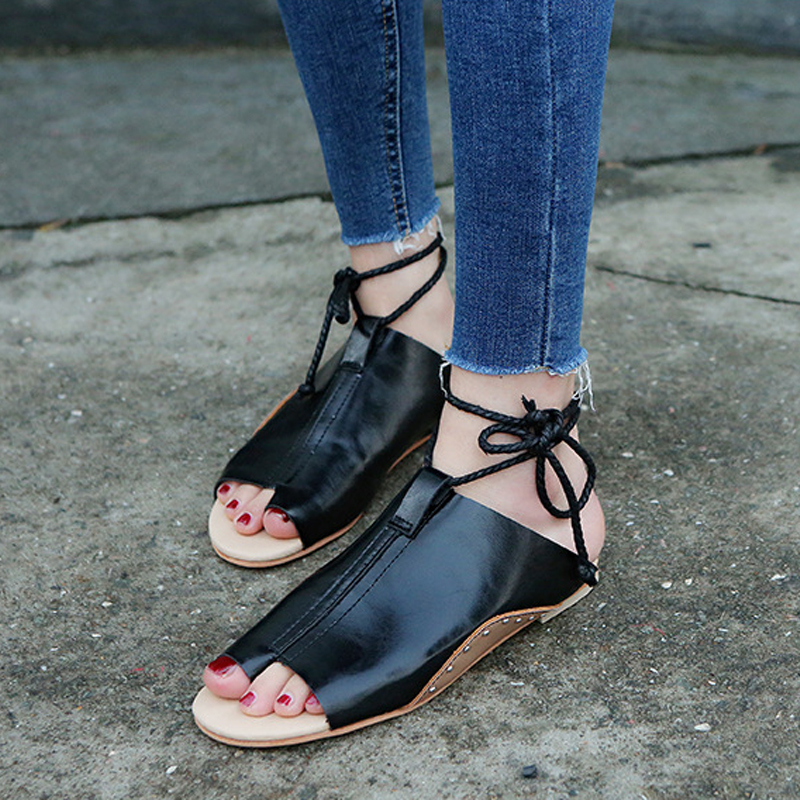 thumbnail 15 - Women's Fashion Flat Sandals Open Toe Buckle Slippers Shoes Beach Lace Up Summer