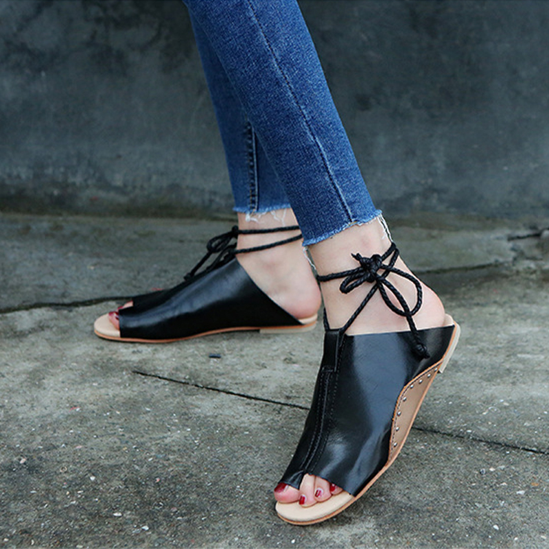thumbnail 16 - Women's Fashion Flat Sandals Open Toe Buckle Slippers Shoes Beach Lace Up Summer