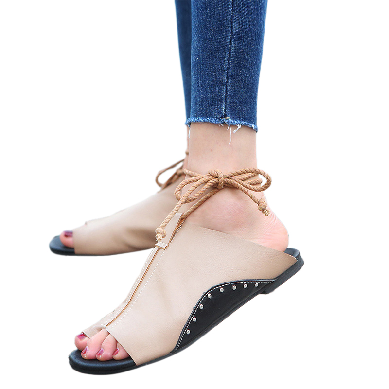 thumbnail 18 - Women's Fashion Flat Sandals Open Toe Buckle Slippers Shoes Beach Lace Up Summer