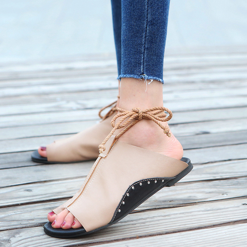 thumbnail 19 - Women's Fashion Flat Sandals Open Toe Buckle Slippers Shoes Beach Lace Up Summer