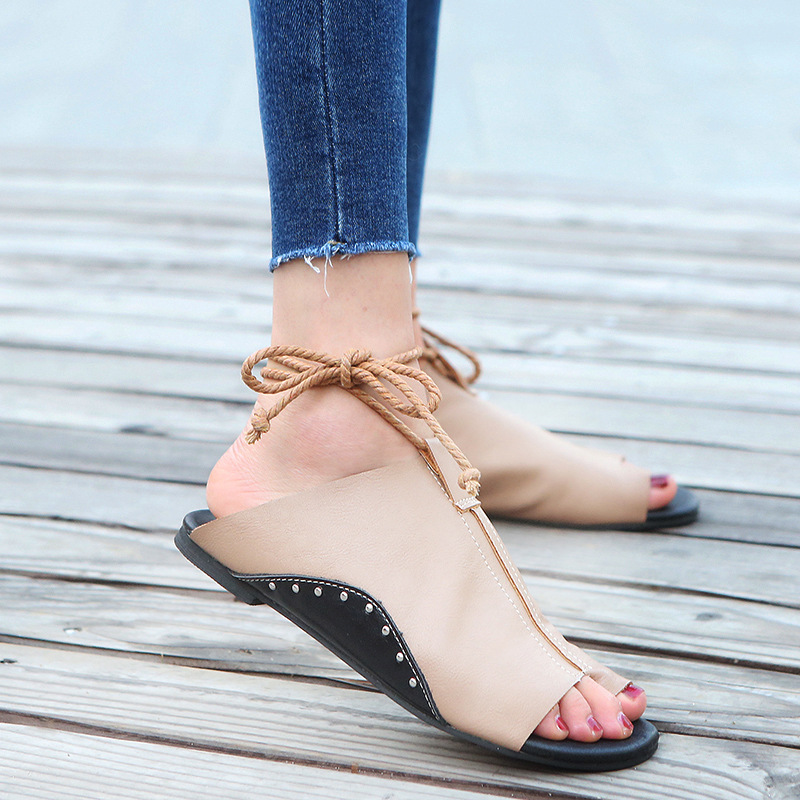 thumbnail 21 - Women's Fashion Flat Sandals Open Toe Buckle Slippers Shoes Beach Lace Up Summer
