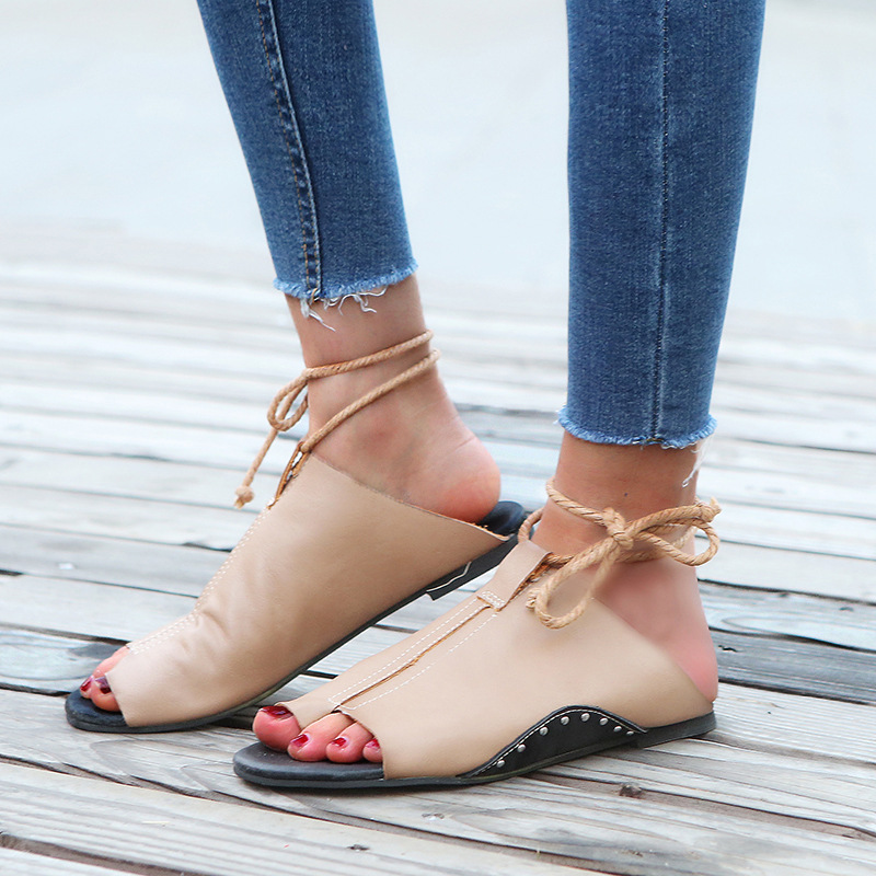 thumbnail 22 - Women's Fashion Flat Sandals Open Toe Buckle Slippers Shoes Beach Lace Up Summer