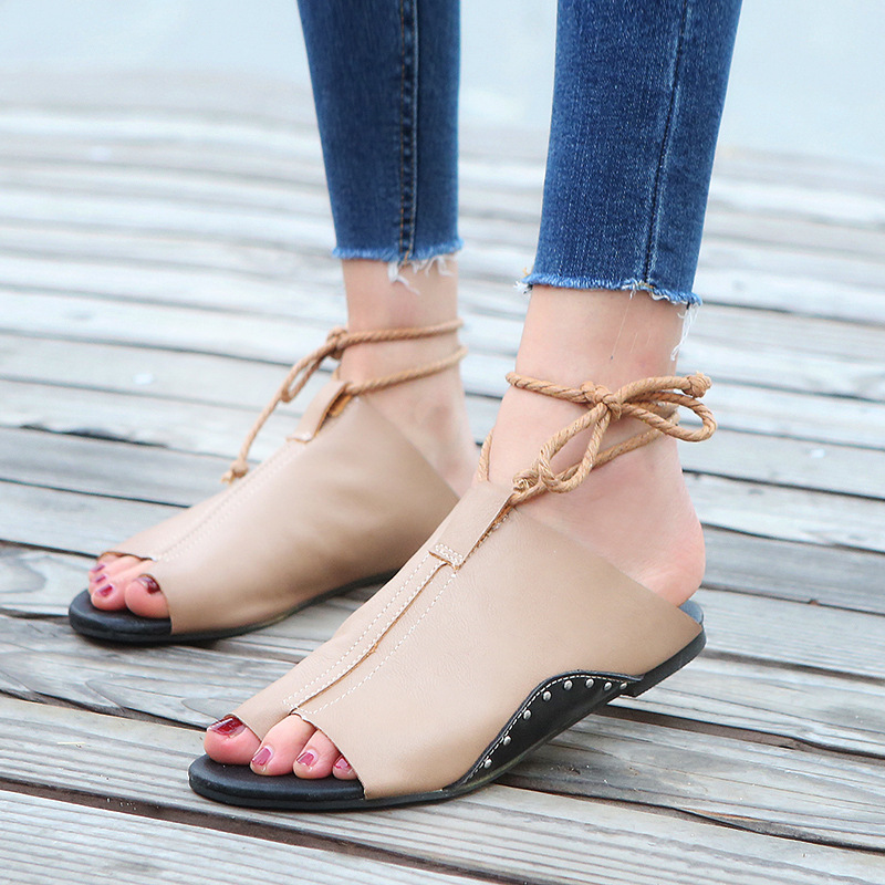thumbnail 23 - Women's Fashion Flat Sandals Open Toe Buckle Slippers Shoes Beach Lace Up Summer
