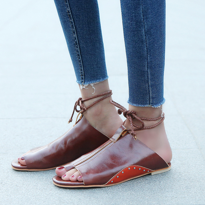 thumbnail 26 - Women's Fashion Flat Sandals Open Toe Buckle Slippers Shoes Beach Lace Up Summer