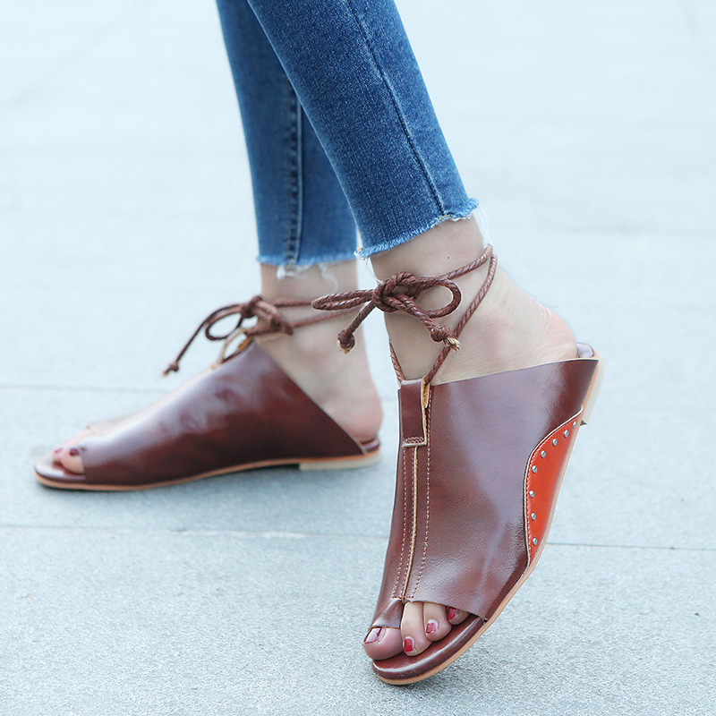 thumbnail 27 - Women's Fashion Flat Sandals Open Toe Buckle Slippers Shoes Beach Lace Up Summer